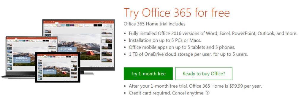 download free trial office 2016