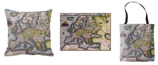 خريطة أوربية خاطئة على الوسادات