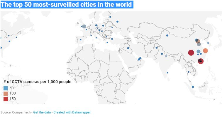 The top 50 most-surveilled cities in the world