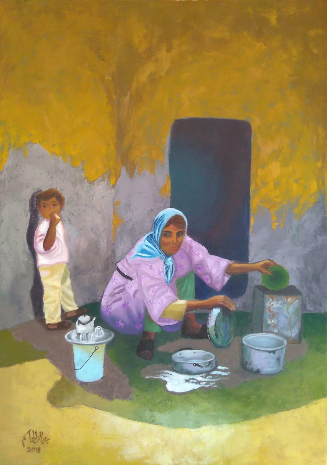لوحة المرأة الريفية للرسامة بيان الجاسم