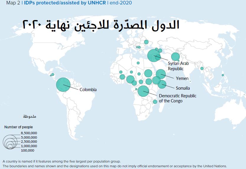 الدول المصدّرة للاجئين نهاية 2020